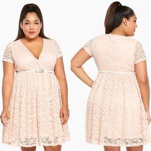 Torrid 2X Pink Floral Lace Skater Fit Flare Dress